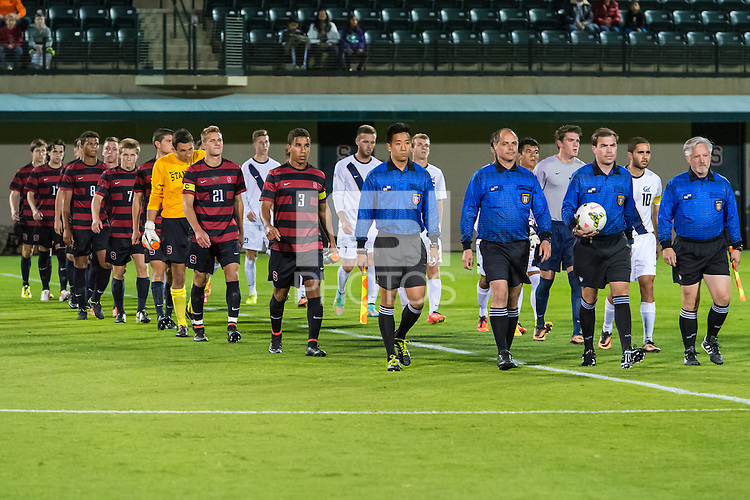 STANFORD, CA - October 20, 2014:  Team before the Stanford vs Cal men's soccer match in Stanford, California.  The Cardinal tied the Bears 1-1 after double overtime.