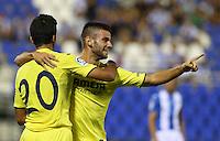 Villarreal's Mario Gonzalez and Rodrigo Hernandez during the XXXVII trophy of Legane's City between CD Leganes and Villarreal CF at Butarque Stadium. August 13, 2016. (ALTERPHOTOS/Rodrigo Jimenez) /NORTEPHOTO