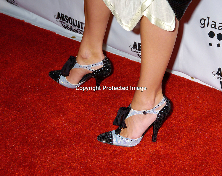 Ines Riveras shoes..at the 15th Annual GLAAD Media Awards on April 12, 2004 ..at the Marriott Marquis Hotel. ..Photo by Robin Platzer, Twin Images