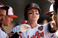 Baltimore Orioles catcher Chance Sisco (15) is congratulated by his teammates in the dugout after hitting a home run in the bottom of the second inning during a Grapefruit League Spring Training game against the Tampa Bay Rays on March 1, 2019 at Ed Smith Stadium in Sarasota, Florida.  Rays defeated the Orioles 10-5.  (Mike Janes/Four Seam Images)