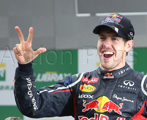 German Formula One driver Sebastian Vettel of Red Bull Racing celebrates after winning his third consecutive Formula One World Championship title after the Formula One Grand Prix of Brazil at the Autodromo Jose Carlos Pace in Sao Paulo, Brazil, 25 November 2012.