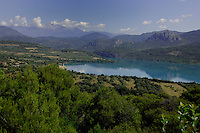 Mispanas church overlooking lake Mediano, Ainsa district, Arogon, Pyranees, Spain,lake,mediano,