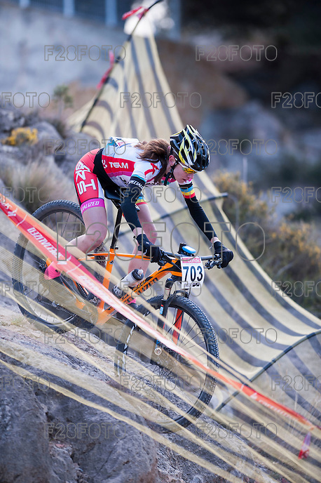 Chelva, SPAIN - MARCH 6: Mireia Baquedano during Spanish Open BTT XCO on March 6, 2016 in Chelva, Spain