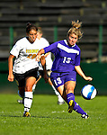 31 August 2007: University of Central Arkansas Sugar Bears' Stacy Pierce (13), a Junior from Searcy, Arkansas, battles Kaitlin Francis (20), a Junior from Hinesburg, VT, during game action against the University of Vermont Catamounts at Historic Centennial Field in Burlington, Vermont. The Catamounts defeated the Sugar Bears 1-0 during the TD Banknorth Soccer Classic...Mandatory Photo Credit: Ed Wolfstein Photo