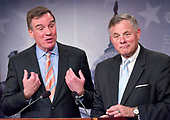 United States Senator Richard Burr (Republican of North Carolina), Chairman, US Senate Select Committee on Intelligence, right, and US Senator Mark Warner (Democrat of Virginia), Vice Chairman, US Senate Select Committee on Intelligence, left, hold a joint press conference in the US Capitol to discuss the upcoming committee hearings on Russian intelligence activities in the US and around the world on Wednesday, March 29, 2017.<br /> Credit: Ron Sachs / CNP