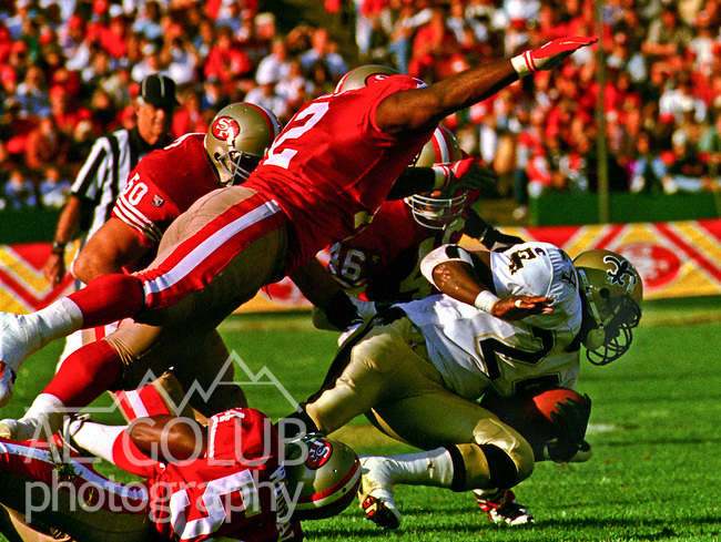 San Francisco 49ers vs. New Orleans Saints at Candlestick Park Sunday, October 29, 1995.  Saints beat 49ers  11-7.  New Orleans Saints running back Mario Bates (24).