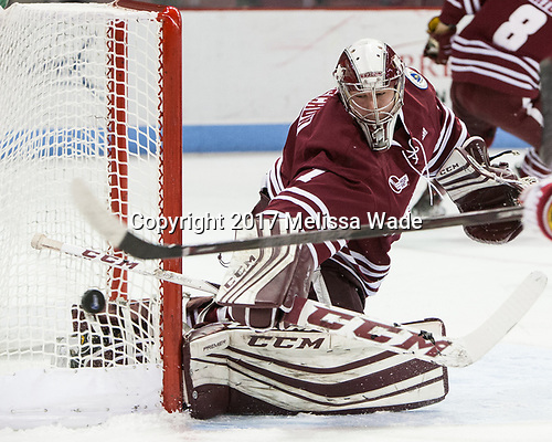 Ryan Wischow (UMass - 1) - The Boston University Terriers defeated the University of Massachusetts Minutemen 3-1 on Friday, February 3, 2017, at Agganis Arena in Boston, Massachusetts.The Boston University Terriers defeated the visiting University of Massachusetts Amherst Minutemen 3-1 on Friday, February 3, 2017, at Agganis Arena in Boston, MA.