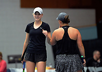 Women's doubles final between Paige Hourigan / Vivian Yang and Holly Stewart / Sarah Weekly (pictured, left). 2019 Wellington Tennis Open finals at Renouf Centre in Wellington, New Zealand on Sunday, 22 December 2019. Photo: Dave Lintott / lintottphoto.co.nz