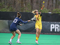 College Park, MD - April 19, 2018: Maryland Terrapins Jen Giles (5) passes the ball during game between Penn St. and Maryland at  Field Hockey and Lacrosse Complex in College Park, MD.  (Photo by Elliott Brown/Media Images International)
