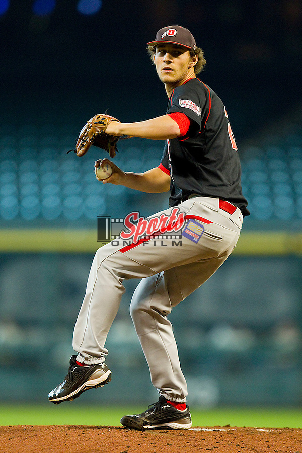 Starting pitcher Zach Adams #28 of the Utah Utes in action against the Baylor Bears at Minute Maid Park on March 5, 2011 in Houston, Texas.  Photo by Brian Westerholt / Four Seam Images