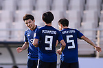 Doan Ritsu of Japan (L) celebrates scoring with teammates during the AFC Asian Cup UAE 2019 Group F match between Japan (JPN) and Turkmenistan (TKM) at Al Nahyan Stadium on 09 January 2019 in Abu Dhabi, United Arab Emirates. Photo by Marcio Rodrigo Machado / Power Sport Images