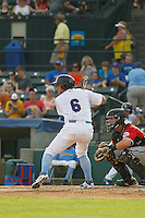 "Myrtle Beach Pelicans outfielder Mark Zagunis (6) at bat  during game one of a doubleheader against the Carolina Mudcats at Ticketreturn.com Field at Pelicans Ballpark on June 6, 2015 in Myrtle Beach, South Carolina. During the game the Pelicans wore special ""Let's Play Two"" uniforms as a tribute to the late Chicago Cubs Hall of Famer Ernie Banks, as they do during the first game of every home doubleheader during 2015. Carolina defeated Myrtle Beach 1-0. (Robert Gurganus/Four Seam Images)"