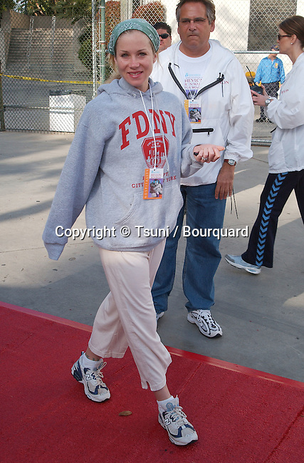"""Christina Applegate arriving at the """" 9th Annual Revlon Run/Walk for Women """"at the Los Angeles Memorial Coliseum in Los Angeles. May 11, 2002."""