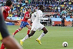 13 JUN 2010: Prince Tagoe (GHA) (in white) races into the attack. The Serbia National Team lost 0-1 to the Ghana National Team at Loftus Versfeld Stadium in Tshwane/Pretoria, South Africa in a 2010 FIFA World Cup Group D match.