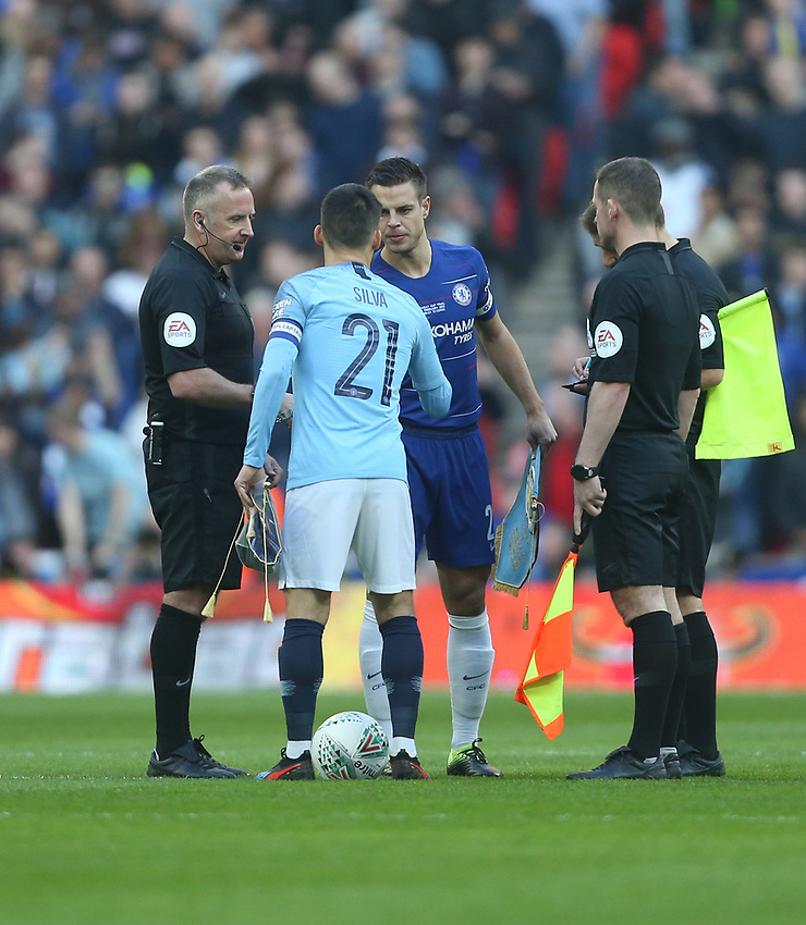 The captains, Chelsea's Cesar Azpilicueta and Manchester City's David Silva<br /> <br /> Photographer Rob Newell/CameraSport<br /> <br /> The Carabao Cup Final - Chelsea v Manchester City - Sunday 24th February 2019 - Wembley Stadium - London<br />  <br /> World Copyright © 2018 CameraSport. All rights reserved. 43 Linden Ave. Countesthorpe. Leicester. England. LE8 5PG - Tel: +44 (0) 116 277 4147 - admin@camerasport.com - www.camerasport.com