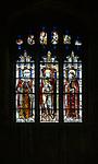 Sixteenth century stained glass window detail Fairford, Gloucestershire, England, UK hidden portrait King Henry VI ( on left) window 23