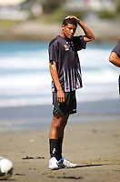 James Musa trains with Wellington Phoenix during a beach training session at Lyall Bay on Friday..A-League Football - Wellington Phoenix Training Session at Lyall Bay, Wellington. Thursday, 29 October 2009. Photo: Dave Lintott