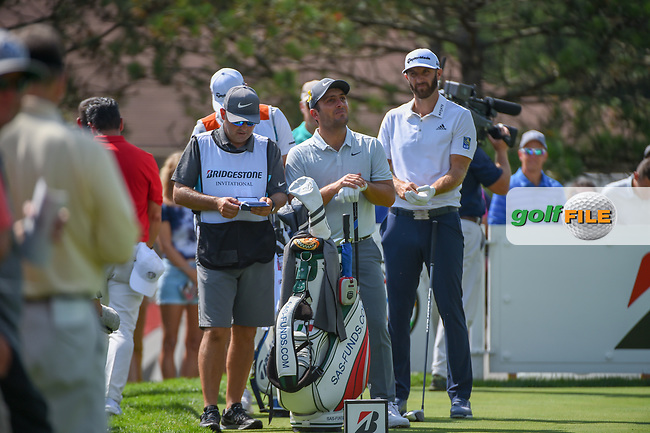 Francesco Molinari (ITA) and Dustin Johnson (USA) look over their tee shot on 13 during 2nd round of the World Golf Championships - Bridgestone Invitational, at the Firestone Country Club, Akron, Ohio. 8/3/2018.<br /> Picture: Golffile | Ken Murray<br /> <br /> <br /> All photo usage must carry mandatory copyright credit (© Golffile | Ken Murray)
