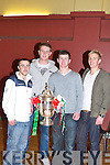 TROPHY: Sea?n Kelly, Cork City Soccer Club and Shane Guthrie, Cobh Ramblers Soccer Club, both natives of Tralee called on the Kingdom Boys with the FAI Cup and to present them with their end of year trophy and medals at the KDYS Denny Street, Tralee, on Saturday.   Copyright Kerry's Eye 2008