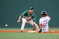 Second baseman Avery Romero (1) of the Greensboro Grasshoppers waits for the throw as Manuel Margot of the Greenville Drive steals second on Wednesday, May 7, 2014, at Fluor Field at the West End in Greenville, South Carolina. Romero is the No. 9 prospect of the Miami Marlins, according to Baseball America. Greenville won, 12-8. (Tom Priddy/Four Seam Images)