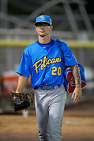 Myrtle Beach Pelicans Ethan Roberts (20) after a Carolina League game against the Potomac Nationals on August 14, 2019 at Northwest Federal Field at Pfitzner Stadium in Woodbridge, Virginia.  Potomac defeated Myrtle Beach 7-0.  (Mike Janes/Four Seam Images)
