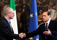 Il Presidente del Consiglio Silvio Berlusconi, a destra, stringe la mano al Presidente del Consiglio Europeo Herman Van Rompuy, a destra, al termine del loro incontro a Palazzo Chigi, Roma, 8 giugno 2010..Italian Premier Silvio Berlusconi, right, shakes hands with European Council President Herman Van Rompuy at the end of their meetong at Chigi Palace, Rome, 8 june 2010..UPDATE IMAGES PRESS/Riccardo De Luca