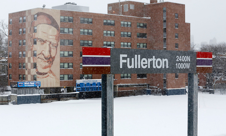 Snow covers the Cacciatore Stadium on the Lincoln Park campus of DePaul University in Chicago as the New Year brought two days of lake effect snow and ice. (Photo by Jamie Moncrief)
