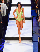 Miami Dolphins Cheerleader, Stephanie, walks runway at Miami Dolphins Cheerleaders 2013 Swimsuit Calendar Unveiling Fashion Show at LIV Nightclub in The Fontainebleau Miami Beach Hotel, Miami Beach, FL on August 26, 2012