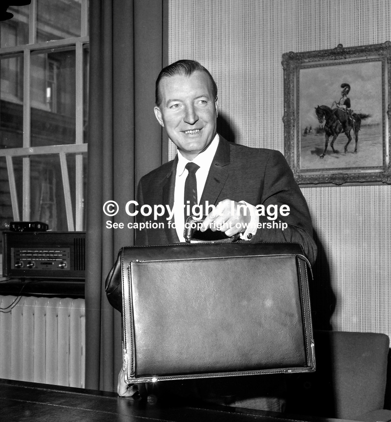 Charles Haughey, finance minister &amp; Fianna Fail TD, Rep of Ireland, with his ministerial despatch box. 197405000270e.<br />
