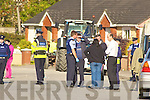 The Scene in Castleisland on Thursday when Gardai removed caravans from an estate in the town
