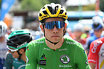 Wout Van Aert (BEL) wearing the Green Jersey for his team mate race leader Primoz Roglic (SLO) Team Jumbo-Visma who fails to start today after his injuries yesterday, waits to start Stage 5 of Criterium du Dauphine 2020, running 153.5km from Megeve to Megeve, France. 16th August 2020.<br /> Picture: ASO/Alex Broadway | Cyclefile<br /> All photos usage must carry mandatory copyright credit (© Cyclefile | ASO/Alex Broadway)