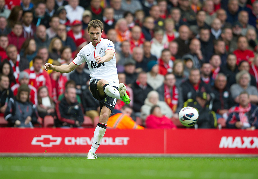 Manchester United's Jonny Evans ..Football - Barclays Premiership - Liverpool v Manchester United - Sunday 23rd September 2012 - Anfield - Liverpool..