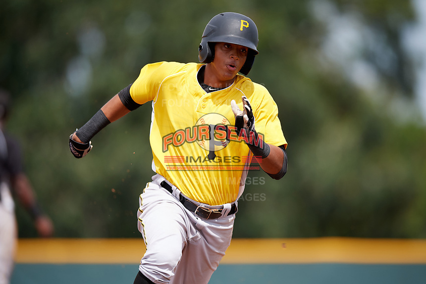 Pittsburgh Pirates Jean Eusebio (6) running the bases during an Instructional League intrasquad black and gold game on October 6, 2017 at Pirate City in Bradenton, Florida.  (Mike Janes/Four Seam Images)