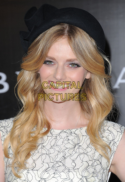 Lydia Hearst.Rodeo Drive Walk of Style 2012 held on Rodeo Dr., Beverly Hills, California, USA..December 5th, 2012 .headshot portrait black white hat pattern top  .CAP/DVS.©DVS/Capital Pictures.