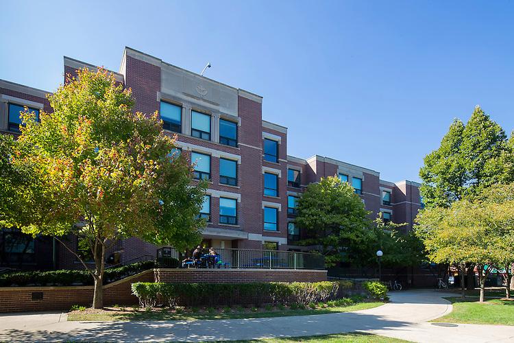 DePaul University's Quad faces University Hall while between the John T. Richardson Library, Schmidt Academic Center and McGowan Sciences Center North. September 23, 2014. (DePaul University/Jeff Carrion)