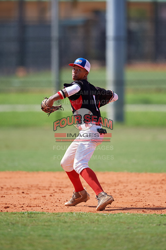 Rafael Ramirez (1) during the Dominican Prospect League Elite Florida Event at Pompano Beach Baseball Park on October 15, 2019 in Pompano beach, Florida.  (Mike Janes/Four Seam Images)