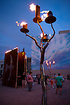Celtic forest art installation in downtown Reno