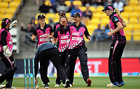 The White Ferns celebrate a wicket during the international women's Twenty20 cricket match between the NZ White Ferns and India at Westpac Stadium in Wellington, New Zealand on Wednesday, 6 February 2019. Photo: Dave Lintott / lintottphoto.co.nz