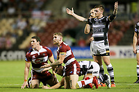Picture by David Neilson/SWpix.com/PhotosportNZ - 10/02/2018 - Rugby League - Betfred Super League - Wigan Warriors v Hull FC  - WIN Stadium, Wollongong, Australia - Marc Sneyd reacts to a decision.