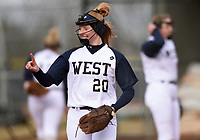NWA Democrat-Gazette/CHARLIE KAIJO Bentonville West High School Madison Johnson (20) gestures during a softball game, Thursday, March 13, 2019 at Bentonville West High School in Centerton.
