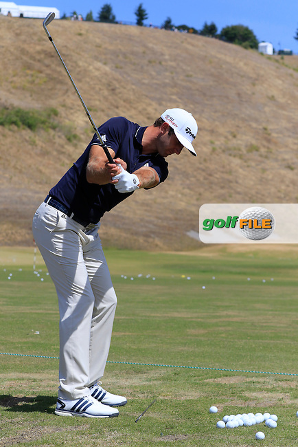 Dustin JOHNSON (USA) on the range during Tuesday's Practice Day of the 2015 U.S. Open 115th National Championship held at Chambers Bay, Seattle, Washington, USA. 6/16/2015.<br /> Picture &copy; Golffile/Eoin Clarke