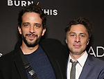 "Nick Cordero and Zach Braff Attends the Broadway Opening Night Arrivals for ""Burn This"" at the Hudson Theatre on April 15, 2019 in New York City."