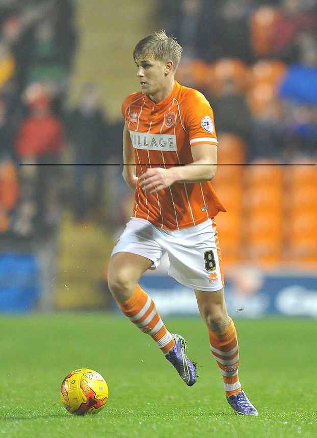 Blackpool's Brad Potts<br /> <br /> Photographer Bethany Hankey/CameraSport<br /> <br /> Football - The Football League Sky Bet League One - Blackpool v Doncaster Rovers - Saturday 14th November 2015 -   Bloomfield Road - Blackpool<br /> <br /> &copy; CameraSport - 43 Linden Ave. Countesthorpe. Leicester. England. LE8 5PG - Tel: +44 (0) 116 277 4147 - admin@camerasport.com - www.camerasport.com