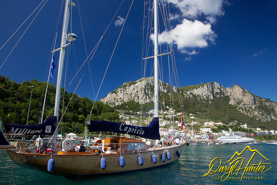 Capricia, a beautiful wooden sailor based on the isle of Capri, Italy