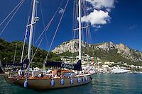 Capricia, a beautiful wooden sailor based on the isle of Capri, Italy