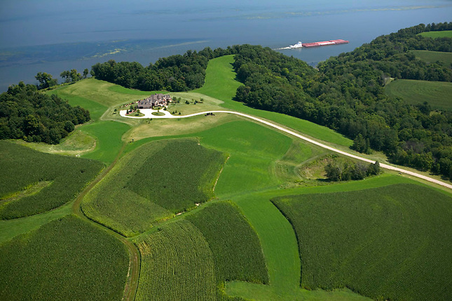 Farmland on bluffs overlooking Mississippi River.