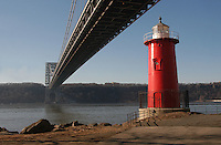 (050206) New York, NY 2Feb06 - The Little Red ighthouse and the Great Grey Bridge. Jeffrey's Hook Lighthouse neneath the George Washington Bridge.