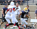 SIOUX FALLS, SD - SEPTEMBER 7:  Dajon Newell #20 from Augustana scampers down the sideline against Minnesota State University Moorhead in the first quarter of their game Saturday at Augustana. (Photo by Dave Eggen/Inertia)