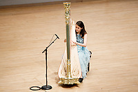Harpist Lenka Petrovic performs during her laureate recital at the 11th USA International Harp Competition at Indiana University in Bloomington, Indiana on Sunday, July 7, 2019. (Photo by James Brosher)