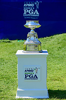 The trophy for winning the KPMG Women's PGA Championship rests on the first tee during Sunday's final round of the 2017 KPMG Women's PGA Championship, at Olympia Fields Country Club, Olympia Fields, Illinois. 7/2/2017.<br /> Picture: Golffile | Ken Murray<br /> <br /> <br /> All photo usage must carry mandatory copyright credit (&copy; Golffile | Ken Murray)